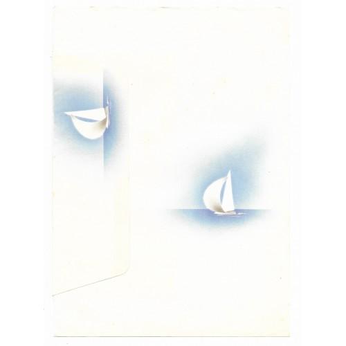 Conjunto de Papel de Carta Antigo Coleção Kartos - Barco a Vela