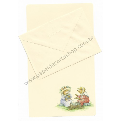 Conjunto de Papel de Carta Antigo Importado Mary Hamilton BEAR 06 - Hallmark