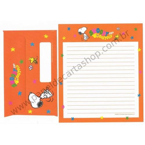 Conjunto de Papel de Carta Antigo (VIntage) Snoopy & Woodstock 70s CLA 2F