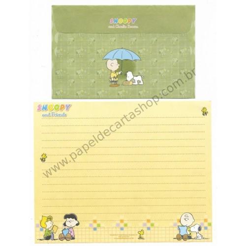 Conjunto de Papel de Carta Snoopy & Charlie Brown CVD Antigo (Vintage) Peanuts