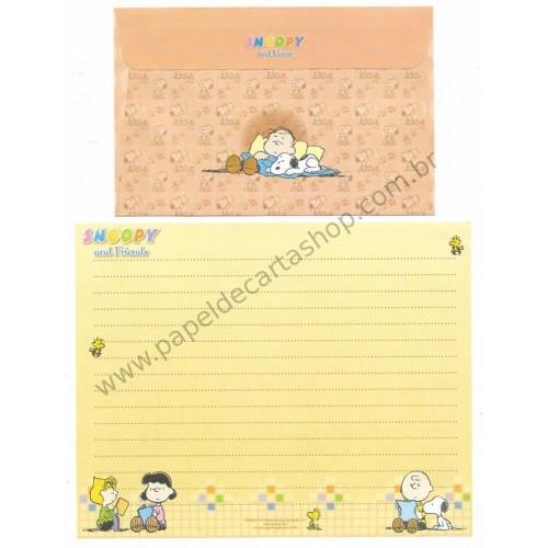 Conjunto de Papel de Carta Snoopy & Charlie Brown CLA Antigo (Vintage) Peanuts