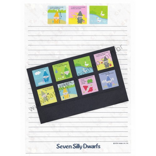 Ano 1979. Conjunto de Papel de Carta Seven Silly Dwarfs TRIO Antigo (Vintage) Sanrio