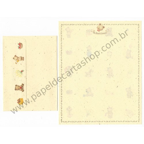 Ano 1989. Conjunto de Papel de Carta Mr. Bear's Dream RIng Vintage Sanrio