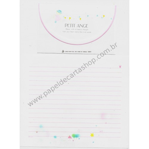 Conjunto de Papel de Carta Antigo Petite Ange Lang Kuan Taiwan