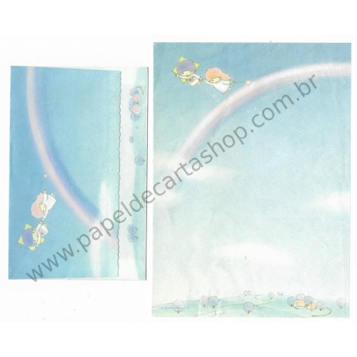 Ano 1976. Conjunto de Papel de Carta Little Twin Stars AZ Vintage Sanrio Japan
