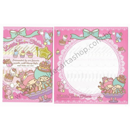 Ano 2012. Kit 4 Conjuntos de Papel de Carta Little Twin Stars Sweets Sanrio