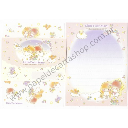 Ano 2016. Conjunto de Papel de Carta Little Twin Stars Glittering Star Flowers Sanrio