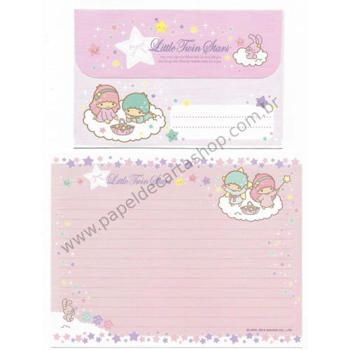 Ano 2010. Conjunto de Papel de Carta Little Twin Stars Twinkle Stars Sanrio