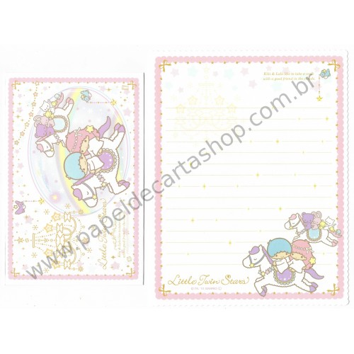 Ano 2015. Conjunto de Papel de Carta Little Twin Stars Take a Walk Sanrio