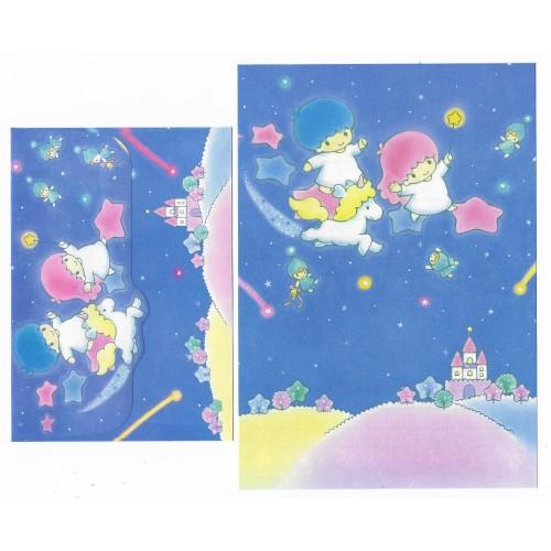 Ano 1988. Conjunto de Papel de Carta Little Twin Stars AZ Antigo (Vintage) Sanrio