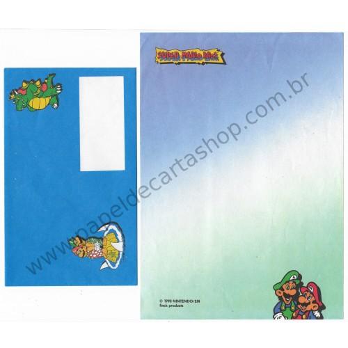 Ano 1990. Conjunto de Papel de Carta Super Mario Bros. Nintendo CAZ