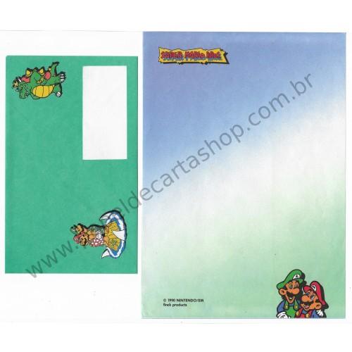 Ano 1990. Conjunto de Papel de Carta Super Mario Bros. Nintendo CVD