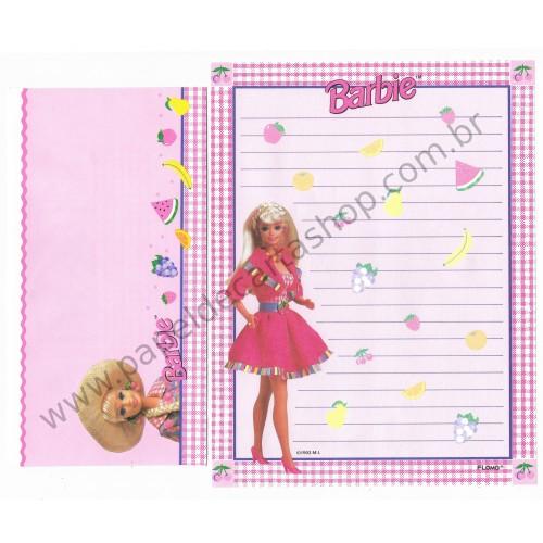 Ano 1993. Conjunto de Papel de Carta Importado Barbie MI Flomo