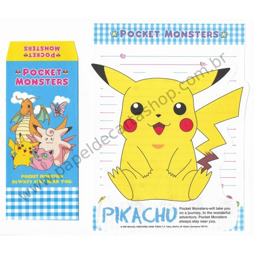 Ano 1999. Conjunto de Papel de Carta Pocket Monsters Pikachu Nintendo