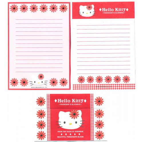 Ano 1998. Conjunto de Papel de Carta Hello Kitty Bloom1 Antigo (Vintage) Sanrio
