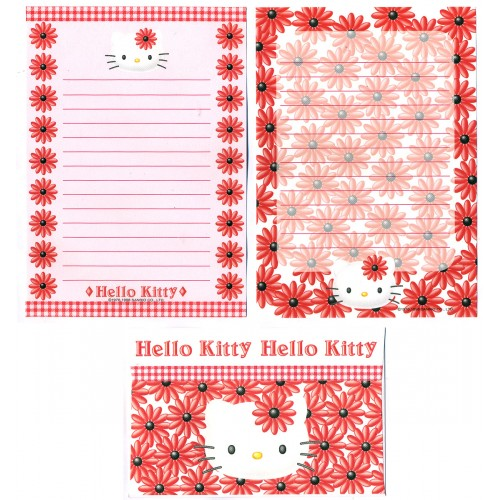 Ano 1998. Conjunto de Papel de Carta Hello Kitty Bloom2 Antigo (Vintage) Sanrio