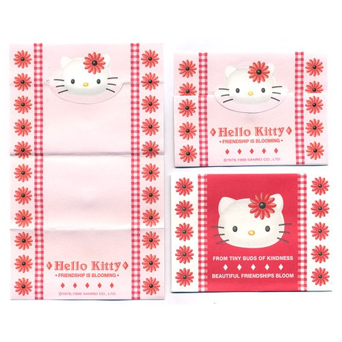 Ano 1998. Conjunto de Mini Papel de Carta Hello Kitty Bloom Antigo (Vintage) Sanrio