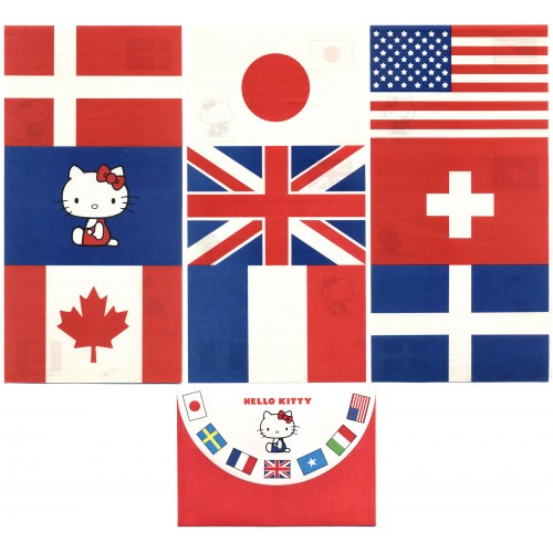 Ano 1976. Conjunto de Papel de Carta Hello Kitty Flags Antigo (Vintage) Sanrio