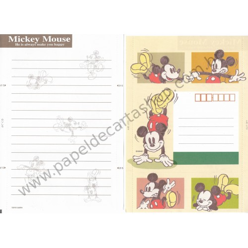 Papel de Carta dobrável ANTIGO VINTAGE Mickey Mouse