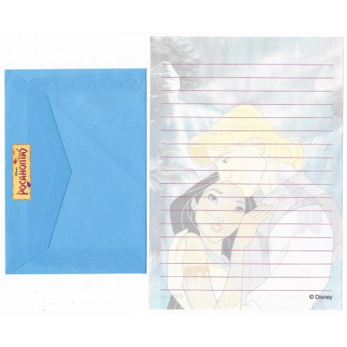 Conjunto de Papel de Carta ANTIGO Personagens Disney Pocahontas CAZ