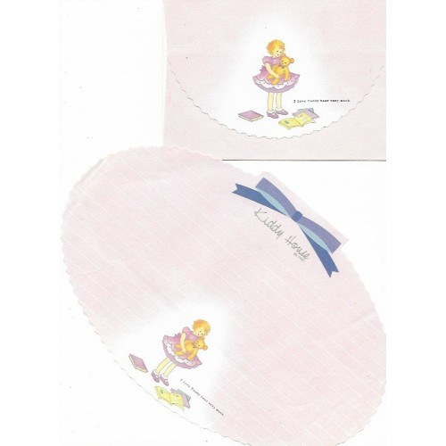Conjunto de Papel de Carta Antigo Kiddy House Oval