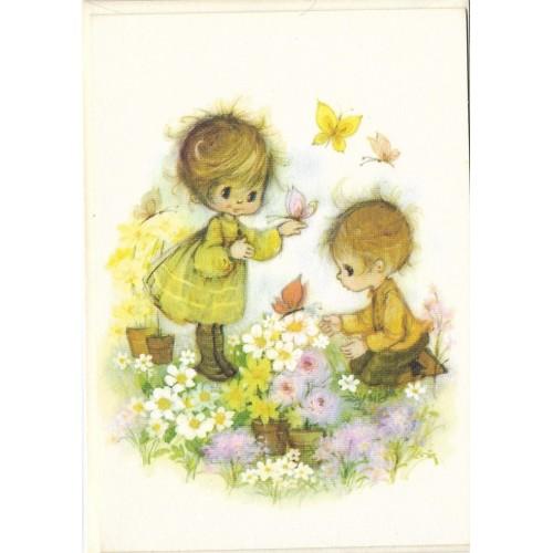 Cartão Antigo Importado Mary Hamilton 05 Garden - Hallmark