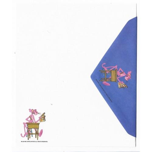 Ano 1982. Conjunto de Papel de Carta Antigo Importado Pantera Cor-de-Rosa