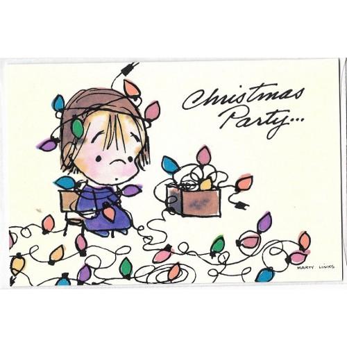 Cartão ANTIGO Christmas Party Marty Links