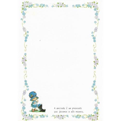 Papel de Carta Antigo Bonnie Bonnets CAZ4 COM FRASE