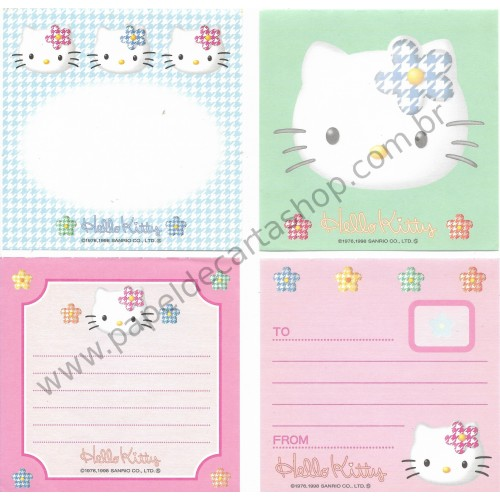 Ano 1998. Conjunto de Notinhas MEMOS Hello Kitty - Sanrio