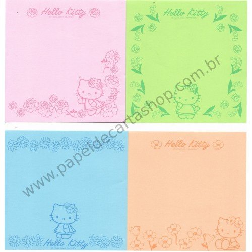 Ano 2001. Conjunto de Notinhas MEMOS Hello Kitty Flower CVD - Sanrio