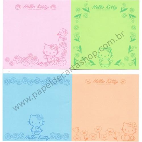 Ano 2001. Conjunto de Notinhas MEMOS Hello Kitty Flower CVD - Sanrio