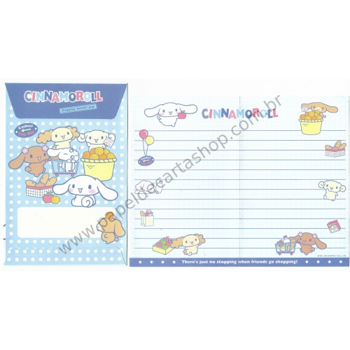 Ano 2006. Conjunto de Papel de Carta Cinnamoroll Shopping Wonder Pup Sanrio