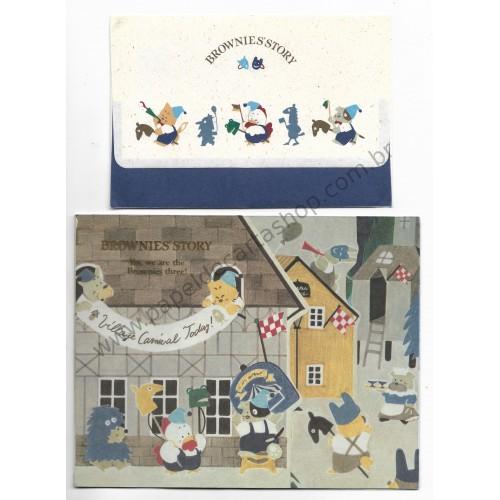 Ano 1987. Conjunto de Papel de Carta Brownie's Story Vintage Sanrio