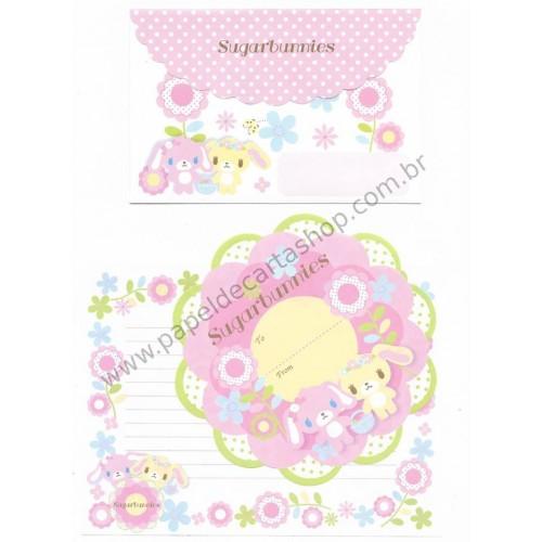 Ano 2009. Conjunto de Papel de Carta Sugarbunnies Flowers Sanrio