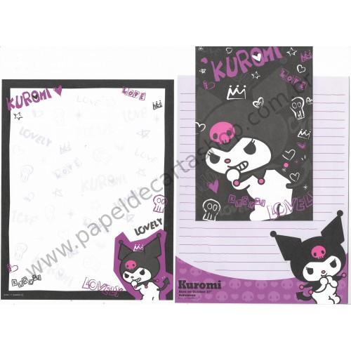 Ano 2011. Conjunto de Papel de Carta Kuromi Halloween BLK Sanrio
