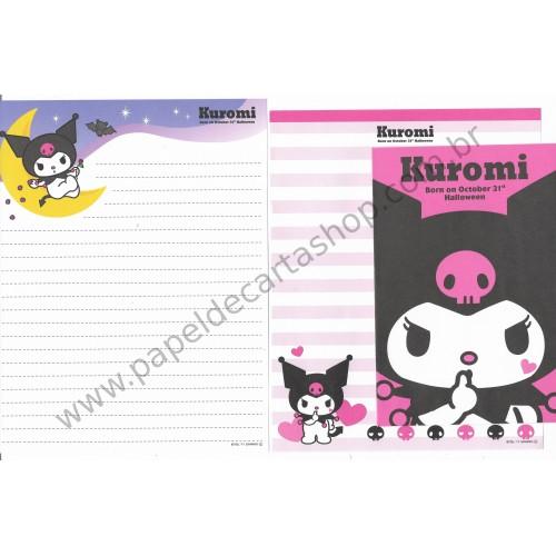 Ano 2011. Conjunto de Papel de Carta Kuromi Halloween PNK Sanrio