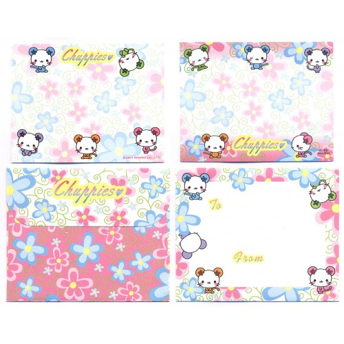 Ano 2001. Conjunto de Mini Papel de Carta Chuppies CH2 Sanrio