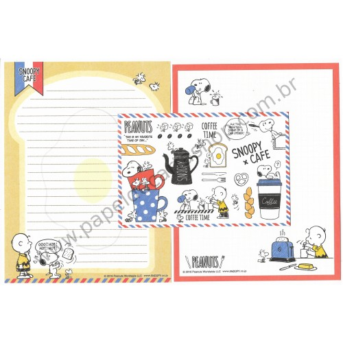 Kit 2 Conjuntos de Papel de Carta Snoopy Coffee Peanuts LCC 2016