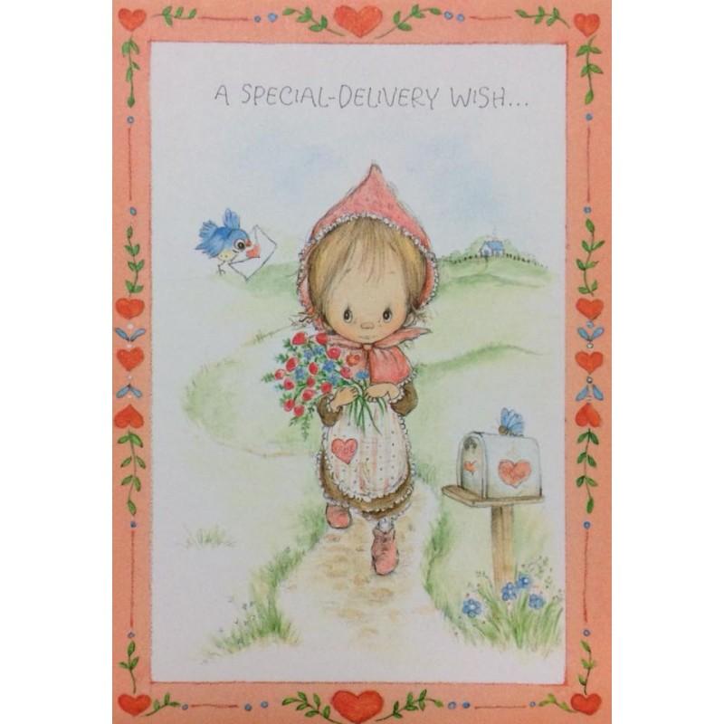 Ano 1976. Cartão ANTIGO com Envelope Betsey Clark Valentines Wish Hallmark