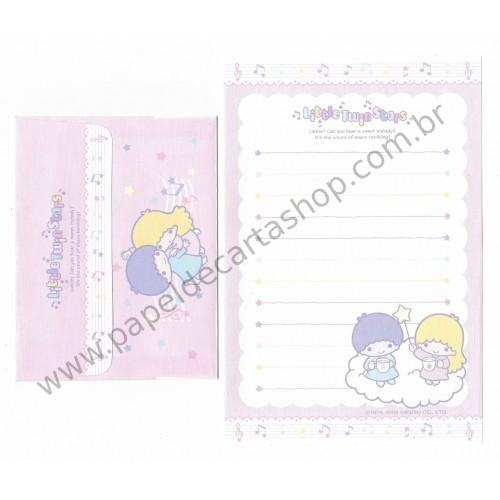 Ano 2005. Conjunto de Papel de Carta Little Twin Stars Pequeno Sanrio