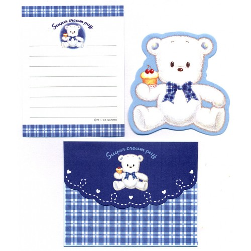 Ano 1994. Conjunto de Mini-Papel de Carta Sugar Cream Puff Vintage Sanrio