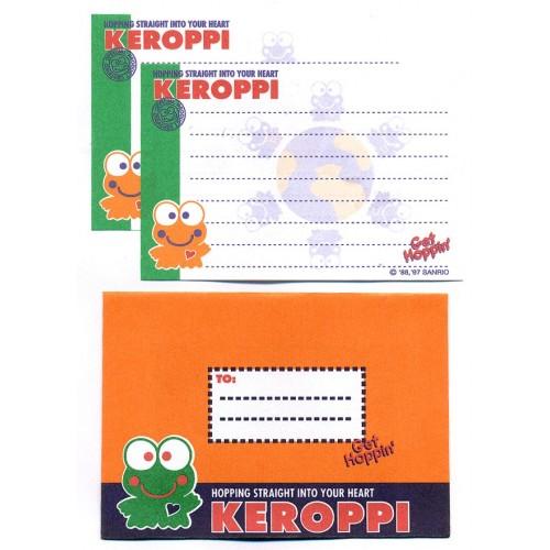Ano 1997. Conjunto de Mini-Papel de Carta Keroppi Sanrio