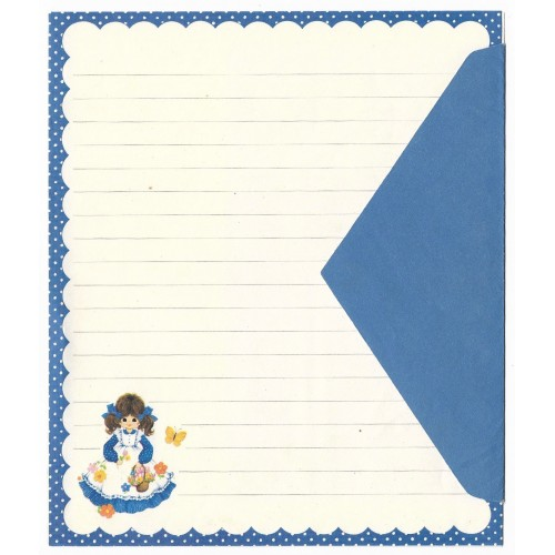 Conjunto de Papel de Carta ANTIGO Lady in Blue