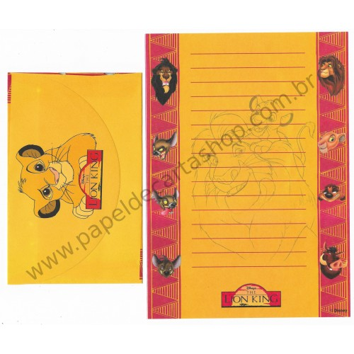 Conjunto de Papel de Carta ANTIGO Personagens Disney The LION KING CLA