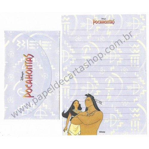 Conjunto de Papel de Carta ANTIGO Personagens Disney Pocahontas II