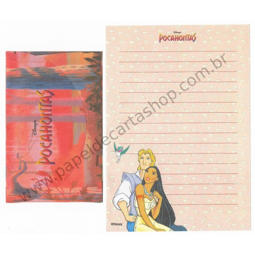 Conjunto de Papel de Carta ANTIGO Personagens Disney Pocahontas CLA