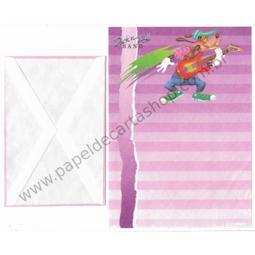 Conjunto de Papel de Carta ANTIGO Personagens Disney Duck'n Roll Band CLL