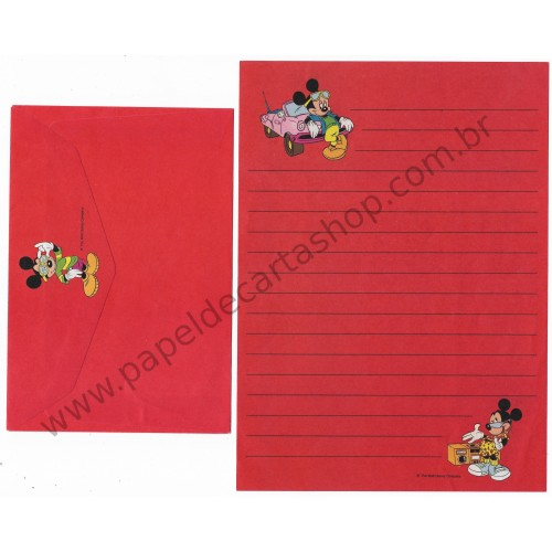 Conjunto de Papel de Carta ANTIGO Personagens Disney Mickey & Minnie Red