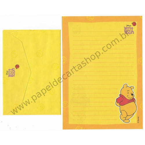 Conjunto de Papel de Carta ANTIGO Personagens Disney Pooh Amarelo